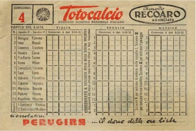 Schedina Totocalcio